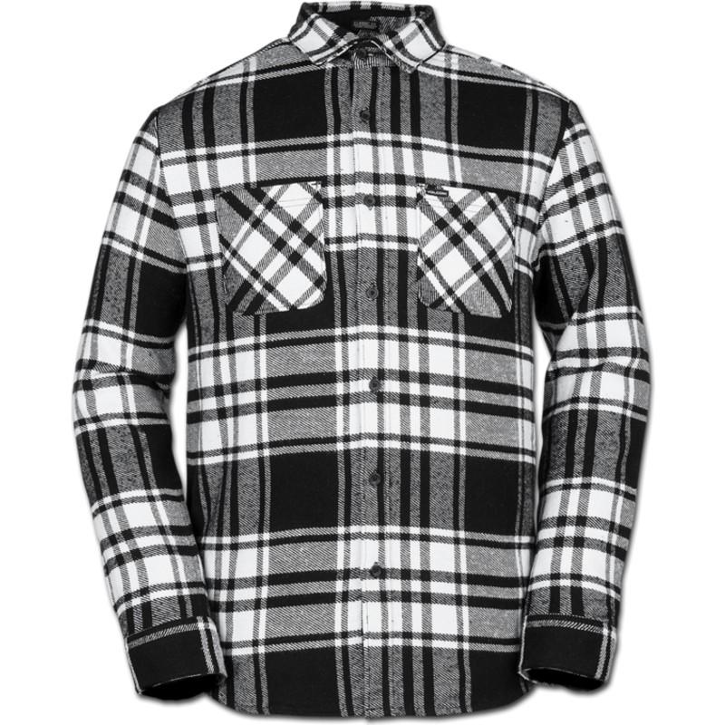 cheap for discount 11837 347a1 Camicia maniche lunghe bianca e nera a quadri Shader White di Volcom