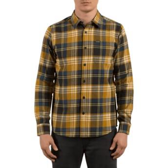 Camicia maniche lunghe marrone a quadri Caden Caramel di Volcom