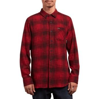 Camicia maniche lunghe rossa Buffalo Glitch Engine Red di Volcom