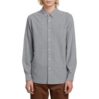 Camicia maniche lunghe gris Oxford Stretch Black di Volcom