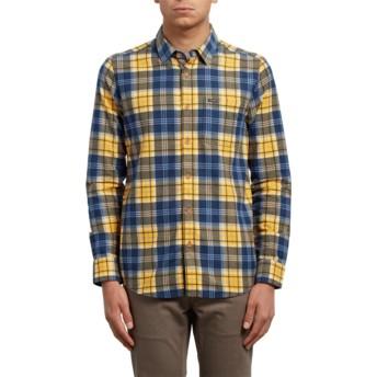 Camicia maniche lunghe gialla e blu a quadri Hayden Tangerine di Volcom