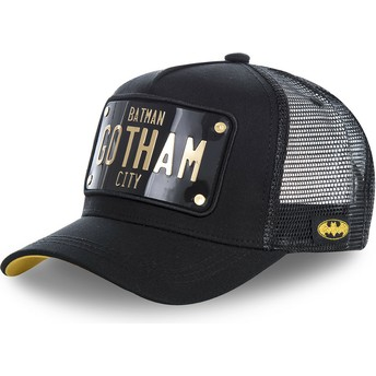 Cappellino trucker nero con placca Batman Gotham City BATP1 DC Comics di Capslab