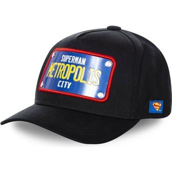 Cappellino visiera curva nero snapback con placca Superman Metropolis City SUP1 DC Comics di Capslab