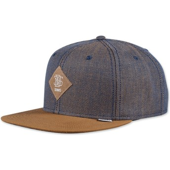 Cappellino 6 pannelli blu e marrone snapback 2tone Oxford di Djinns