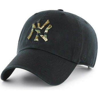 Cappellino visiera curva nero con logo mimetico di New York Yankees MLB Clean Up Camfill di 47 Brand