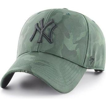 Cappellino visiera curva mimetico verde di New York Yankees MLB Clean Up Jigsaw di 47 Brand