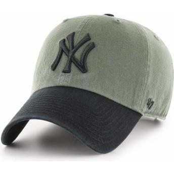 Cappellino visiera curva verde con visiera e logo nero di New York Yankees MLB Clean Up Two Tone di 47 Brand