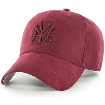Cappellino visiera curva bordeaux con logo bordeaux di New York Yankees MLB Clean Up Ultra Basic di 47 Brand