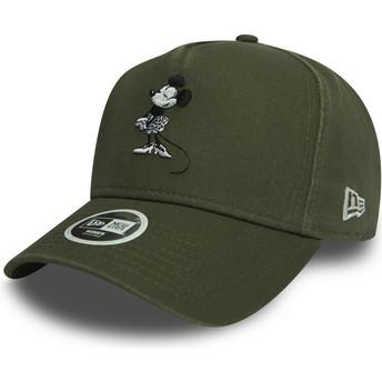 Cappellino visiera curva verde snapback 9FORTY A Frame Minni Walt Disney di New Era