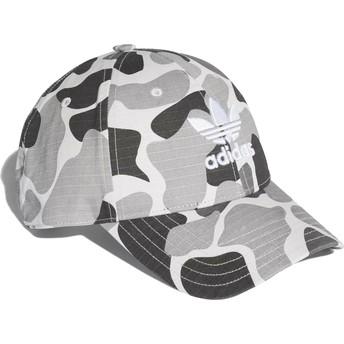 Cappellino visiera curva mimetico grigio regolabile Trefoil Classic di Adidas