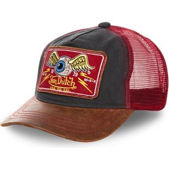 Cappellino trucker nero, rosso e marrone TRUCK04 di Von Dutch