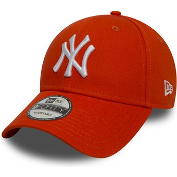 Cappellino visiera curva arancione regolabile 9FORTY Essential di New York Yankees MLB di New Era