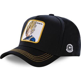 Cappellino visiera curva nero snapback Vegeta Super Saiyan VE2 Dragon Ball di Capslab