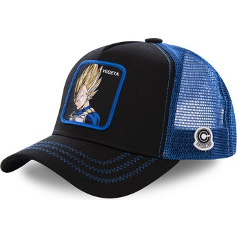 Cappellino trucker nero e blu Vegeta Super Saiyan VE3 Dragon Ball di Capslab