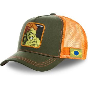 Cappellino trucker verde e arancione Blanka BLA Street Fighter di Capslab