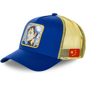 Cappellino trucker blu e giallo Chun-Li CHU Street Fighter di Capslab