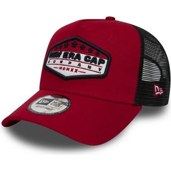 Cappellino trucker rosso Patch A Frame di New Era