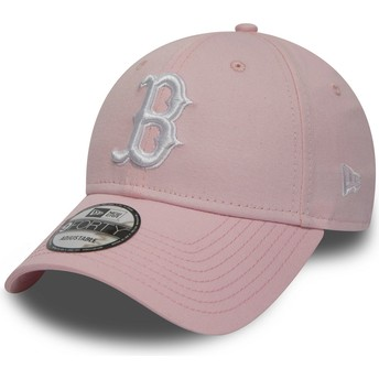 Cappellino visiera curva rosa regolabile 9FORTY Essential di Boston Red Sox MLB di New Era