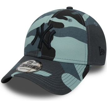 Cappellino visiera curva mimetico blu regolabile con logo nero 9FORTY Essential di New York Yankees MLB di New Era