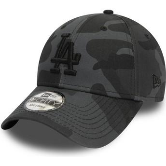 Cappellino visiera curva mimetico negro regolabile con logo nero 9FORTY Essential di Los Angeles Dodgers MLB di New Era
