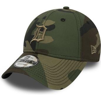 Cappellino visiera curva mimetico regolabile con logo marrone 9FORTY Essential di Detroit Tigers MLB di New Era
