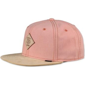 Cappellino 6 pannelli rosa snapback Melange Twill di Djinns