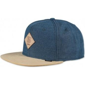 Cappellino 6 pannelli blu snapback Melange Twill di Djinns