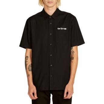Camicia maniche corte nera Crowd Control Black di Volcom