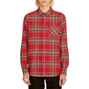Camicia maniche lunghe rossa a quadri Caden Plaid Burgundy di Volcom