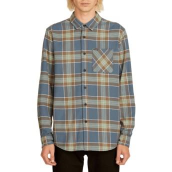 Camicia maniche lunghe blu marino a quadri Caden Plaid Indigo di Volcom