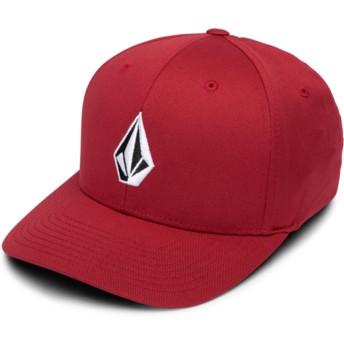 Cappellino visiera curva rosso aderente Full Stone Xfit Burgundy di Volcom