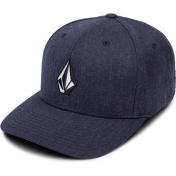 Cappellino visiera curva blu marino aderente Full Stone Xfit Navy Heather di Volcom