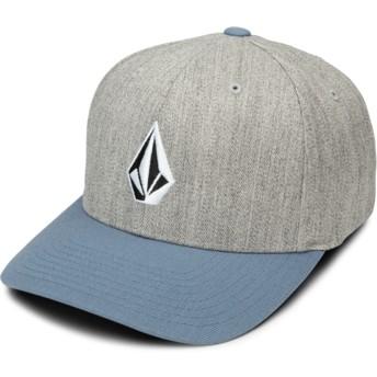 Cappellino visiera curva grigio aderente con visiera blu Full Stone Xfit Vintage Blue di Volcom