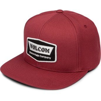 Cappellino visiera piatta rosso snapback Cresticle Burgundy di Volcom