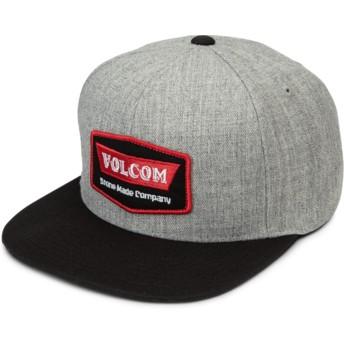 Cappellino visiera piatta grigio snapback con visiera nera Cresticle Red di Volcom