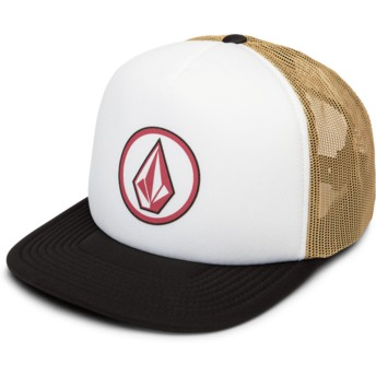Cappellino trucker bianco, marrone e nero Full Frontal Cheese Camel di Volcom