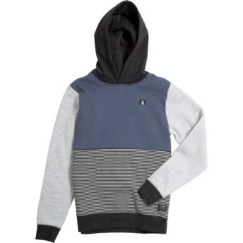 Felpa con cappuccio blu marino, grigia e nera per bambino Forzee Indigo di Volcom
