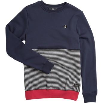 Felpa senza cappuccio blu marino, grigia e rossa per bambinoForzee Navy di Volcom