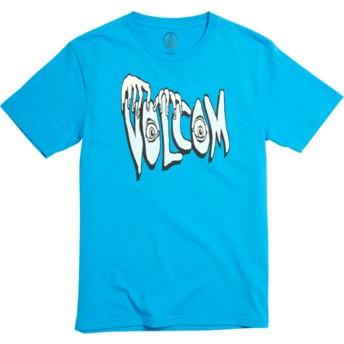 Maglietta maniche corte blu per bambino Volcom Panic Division Cyan Blue de Volcom