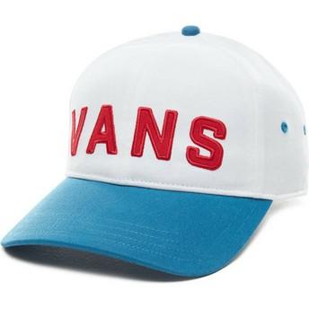 Cappellino visiera curva bianco regolabile con visiera blu Dugout di Vans