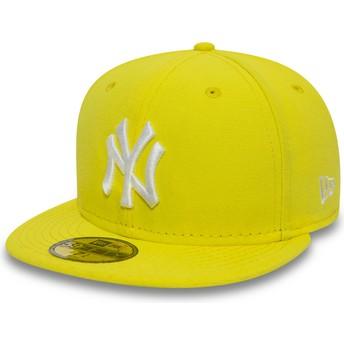 Cappellino visiera piatta giallo aderente 59FIFTY Essential di New York Yankees MLB di New Era