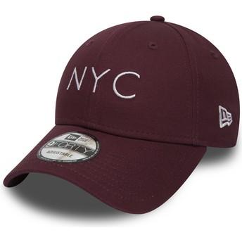 Cappellino visiera curva bordeaux regolabile 9FORTY Essential NYC di New Era