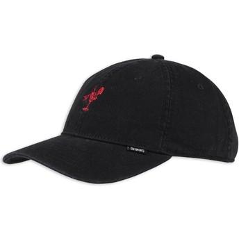 Cappellino visiera curva nero e rosso regolabile Washed Girl di Djinns