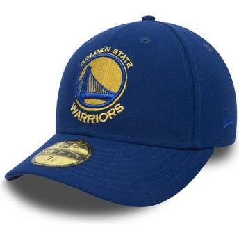 Cappellino visiera piatta blu aderente 59FIFTY Low Profile Classic di Golden State Warriors NBA di New Era