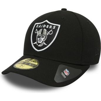 Cappellino visiera piatta nero aderente 59FIFTY Low Profile Classic di Oakland Raiders NFL di New Era