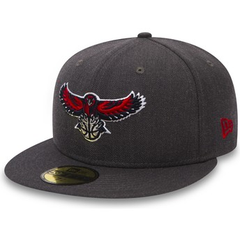 Cappellino visiera piatta nero aderente 59FIFTY Heather di Atlanta Hawks NBA di New Era