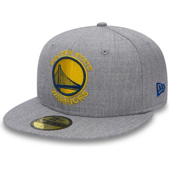 Cappellino visiera piatta grigio aderente 59FIFTY Heather di Golden State Warriors NBA di New Era