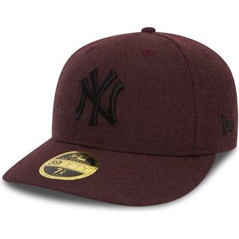Cappellino visiera piatta bordeaux aderente con logo nero59FIFTY Low Profile Heather di New York Yankees MLB di New Era