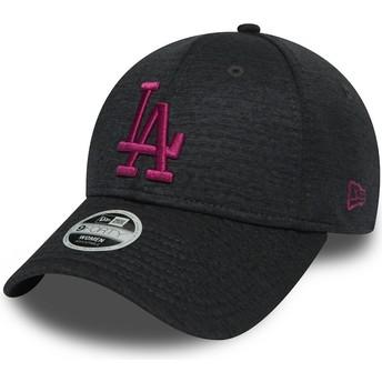 Cappellino visiera curva grigio regolabile con logo rosa 9FORTY Essential Maglione di Los Angeles Dodgers MLB di New Era