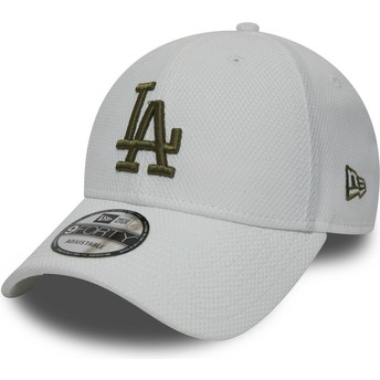 Cappellino visiera curva bianco regolabile con logo verde 9FORTY Diamond Era di Los Angeles Dodgers MLB di New Era